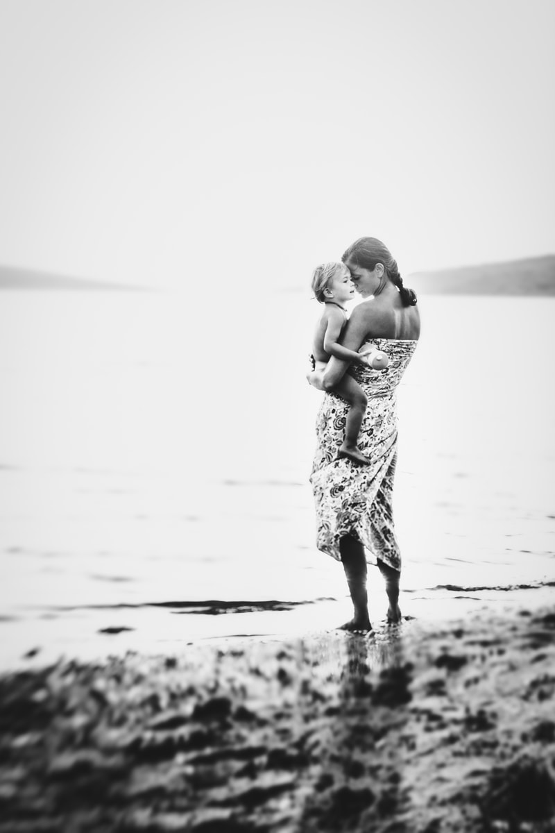 Motherhood and Maternity Photography, mother and son standing next to the water