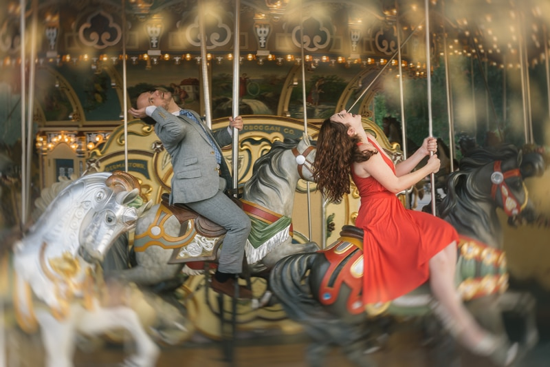 Couples Photography, couple riding a carousel