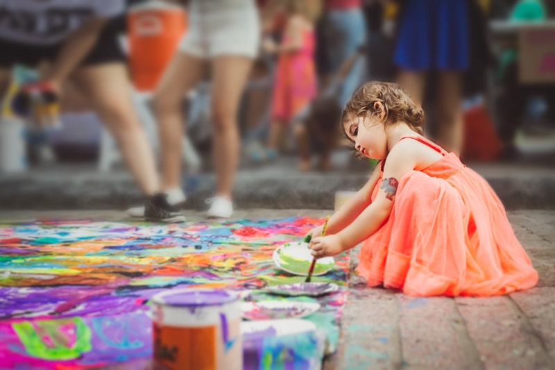 Children and Senior Photography, little girl painting on the sidewalk