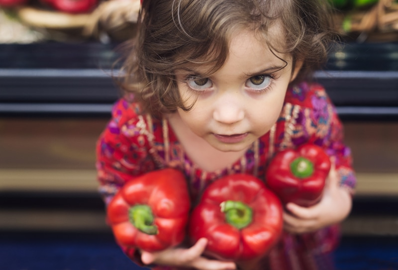 Children and Senior Photography, little girl holding three red bell peppers