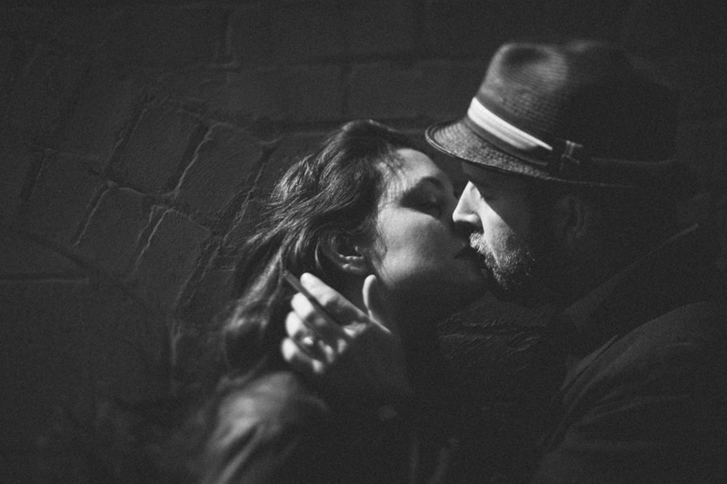 Couples Photography, black and white of couple kissing